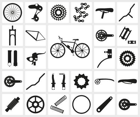 bicicleta vector: Conjunto de iconos de la silueta negra de piezas de bicicleta piezas. Veintisiete iconos, elementos infográficos. Ilustración vectorial