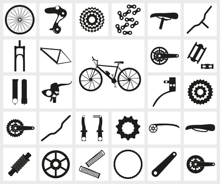 bicycle silhouette: Set of black silhouette icons of bicycle spare parts. Twenty seven icons, infographic elements. Vector illustration