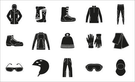 middle: Set of cloth and shoes for winter sport. Black silhouette design. Ski icons series.