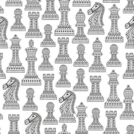queen of hearts: Seamless pattern with all chess pieces. Black and white. Beautiful lace ornament in Indian style. Vector illustration.
