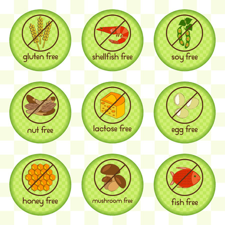 soy free: Colorful allergen food set with gluten free, shellfish free, soy free, nut free, lactose free, egg free, honey free, mushroom free and fish free icons. Vector illustration.