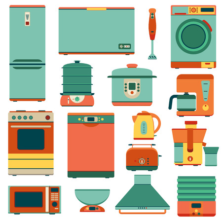 double oven: Set of kitchen appliances in flat style. Isolated on the white.