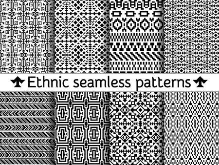 borders abstract: Set of tribal seamless patterns. American Indian or asian motifs. Black vector illustration. Good for frames, borders and like a background. Abstract geometric collection. Stripes in ethnic style