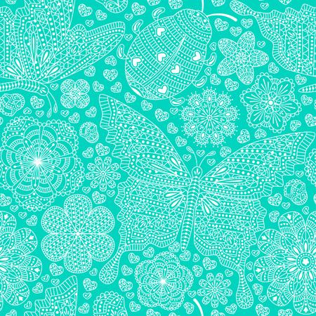 Nahtloses Muster mit Blumen, Herzen und Schmetterlingen. Romantischer Blumenhintergrund in den Blau- und Türkisfarben. Detaillierte Vektor-Illustration. Standard-Bild - 50094640