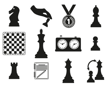 king and queen: Set of icons on the chess theme. Black silhouette design. Vector illustration.