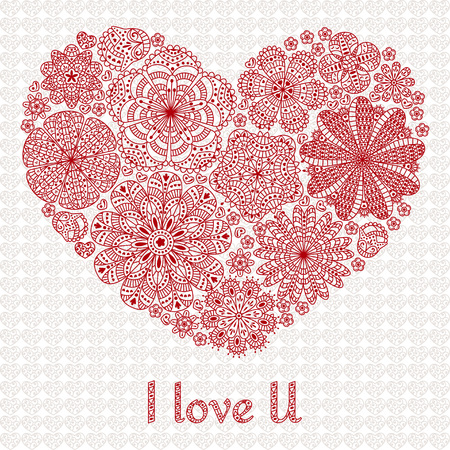 i love u: Card design for Valentines day or lowers. Pattern with flowers. Heart shape. Text I Love U. Beautiful floral background. Good for weddings, invitations, birthdays if you are falling in love. Illustration