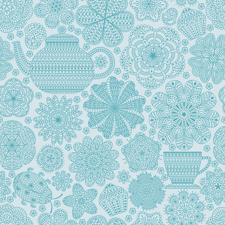 roll curtains: Seamless pattern with teapot, cup, saucer, muffins, floral elements and ladybug. Romantic flower background. Blue color. Botanic texture for kitchen wallpaper. Detailed vector illustration.