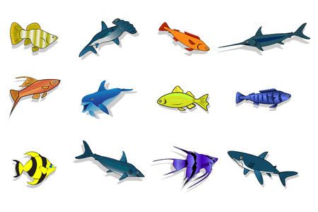 simbols: Set of sea and ocean fishes. Cartoon vector illustration.