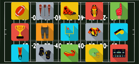 rugby field: Set of sport icons, signs and symbols. American football. Vector illustration on the blur background. Illustration