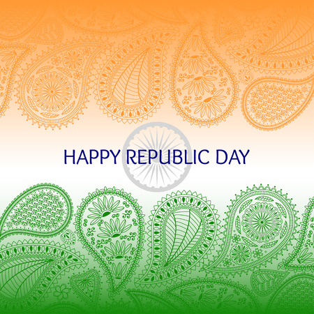 indian tattoo: Greeting card with paisley elements. Text happy republic day and flag of India. Orange, green and blue colors.
