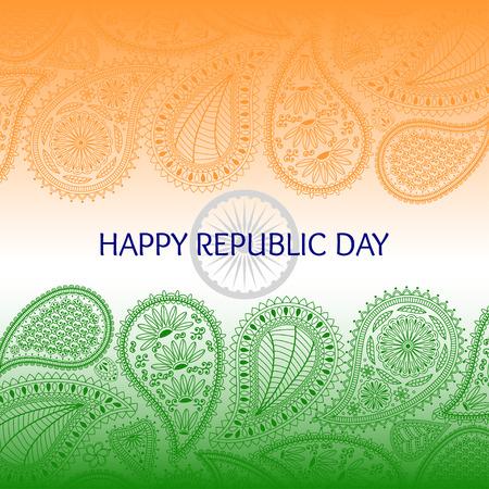 indianische muster: Gru�karte mit Paisley-Elementen. Text gl�cklich Tag der Republik und die Flagge von Indien. Orange, gr�nen und blauen Farben.