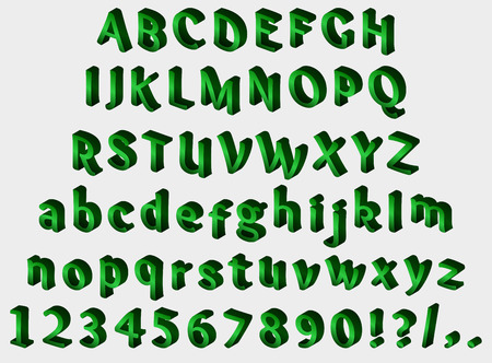 punctuation marks: Green isometric font on gray background. Alphabet, numbers and punctuation marks. Vector illustration