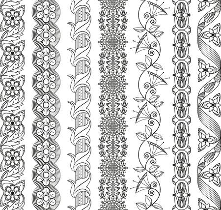 Vector set di elementi floreali per arredamento etnico. Modelli senza soluzione di cornici, bordi e sfondi. motivi decorativi dettagliate. colori bianco e nero.