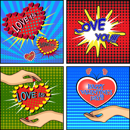 Love set. Comics style Valentines day card with a female hand, holding a heart on the blue, red and green background. Vector illustration Illustration