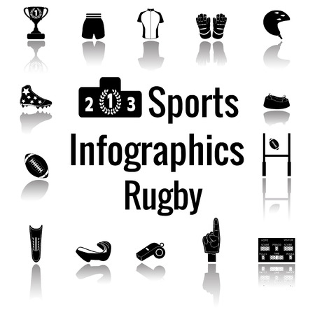 Set of sport icon. American and australian Rugby. Vector illustration on the blur background.