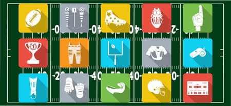 Set of sport icons, signs and symbols. American football. Vector illustration on the blur background Illustration