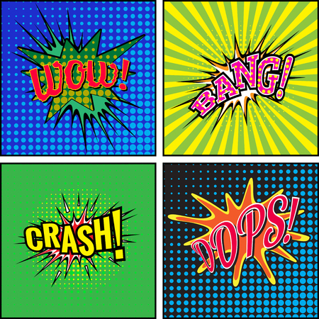 smack: Set of comic sound effects. Vector illustration.