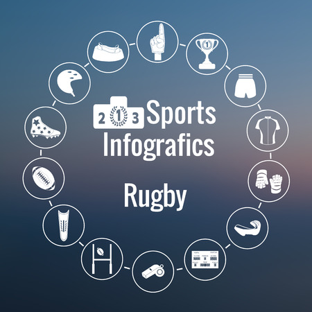 clipart podium: Set of sport icon. American and Australian Rugby.