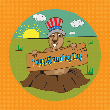 gopher: Cards for Groundhog Day. Congratulations to the end of winter and beginning of spring. Vector illustration.