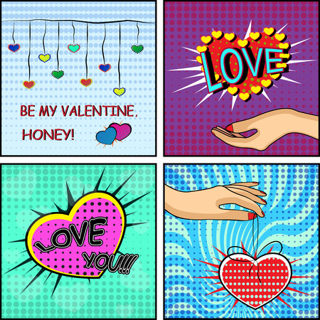 Love set. Comics style Valentines day card with a female hand, holding a heart on the blue, red and green background.