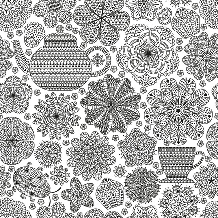 botanic: Seamless pattern with teapot, cup, saucer, muffins, floral elements and ladybug. Romantic flower background. Black and white color. Botanic texture for kitchen wallpaper. Detailed illustration. Illustration