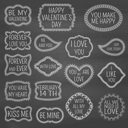 lowers: Set of decorative frames with flowers, swirls and hearts on chalkboard background. Lettering for Valentines Day or lowers. Text I love you, Kiss me, happy Valentines Day and so on.