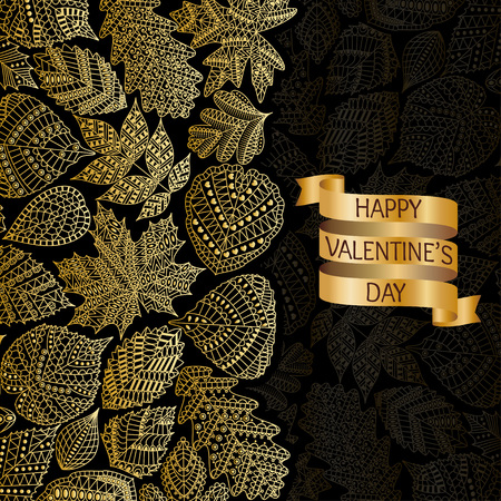 linden tree: Golden pattern with different tree leaves such as oak and maple, chestnut and birch, aspen and linden. Autumn collection. Text Happy Valentine Day on swirl ribbon.