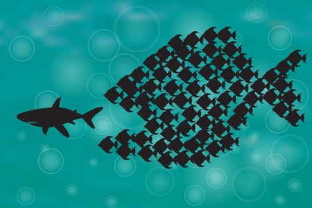 big and small: Teamwork Concept Illustration with Big Fish chasing Small fish and Fish group chasing Big fish