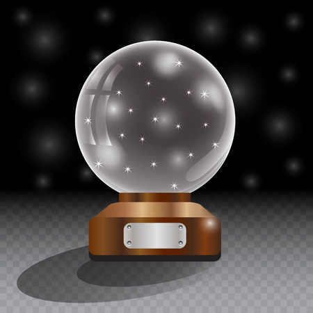 magic ball: Glass globe on checkered background. Magic ball with star and glowing ball, shiny translucent, vector illustration.