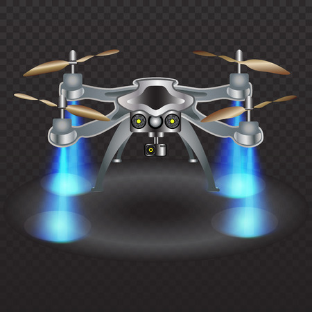 recording: Remote aerial drone with a camera taking photography or video recording. Neon laser light illuminates the ground. Vector Illustration.