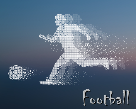 divergent: Football player kicks the ball, square particle divergent composition, vector illustration.