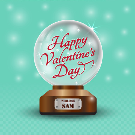 magic ball: Glass globe on blue and pink checkered background. Magic ball with stars, two hearths and text Happy Valentines Day, shiny translucent, vector illustration.