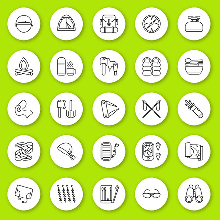 gasket: Set of line icon. Travel and tourism, camping and hiking. Contour round icons with shadow. Info graphic elements. Vector illustration, eps 10.