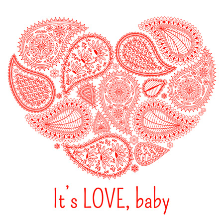 wedding celebration: Floral paisley background with ethnic ornament and heart shape. Romantic design in red colors and text Its love, baby. Greeting card. Vector illustration. Illustration