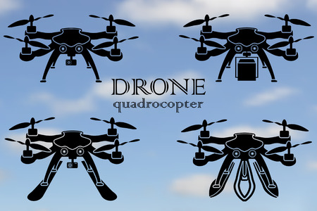 taking video: Remote aerial drone with a camera taking photography or video recording, the movement of goods, the ability to float on water and snow skiing, vector illustration.