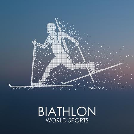 武器、バイアスロン競技、抽象的な背景、粒子発散成分、ベクトル図でのスキーで実行しているスポーツマン。