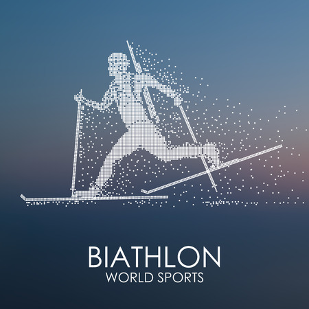 Sportsman running on skis with a weapon, biathlon competition, abstract background, particle divergent composition, vector illustration.