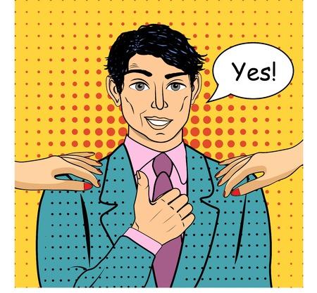praise: Man speaking Yes concept of success retro style pop art. Vector illustration. Illustration