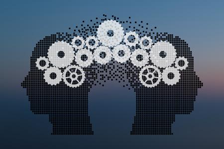 Concept van hersenbestorming, Kennis delen tussen mensen hoofd, dit werd getoond door middel van tandwielen die van de ene menselijke hersenen overbrengen naar andere, dit vertegenwoordigt ook creatieve geest, innovatie. Partikel divergente samenstelling. Stockfoto - 80982640