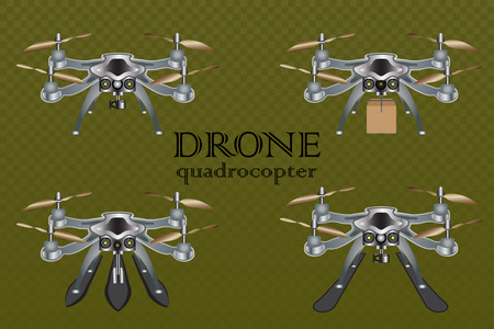 Set of different drones on green checkered backgraund