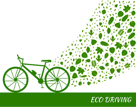 green eco: Eco driving concept in green colors. Bike and trail of tree leaves. Vector illustration