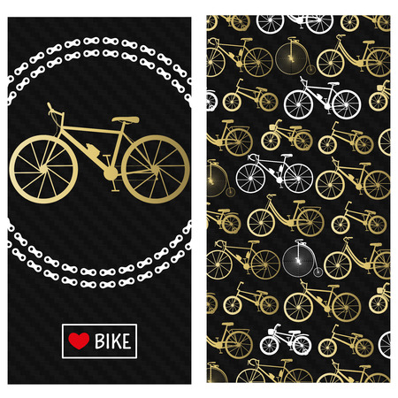 Invitation card with bike in the chain wreath, text love bike in rectangle frame. At the back six kinds of bicycles: mountain, road, city, bmx, kids and penny farting bikes. Carbon black background. Illustration