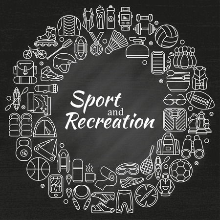 gasket: Wreath made of line icons. Sport, fitness and recreation equipment. Outdoor, tourism and hiking, Rafting and kayaking. Chalk board background. Info graphic elements. Simple design. Vector illustration