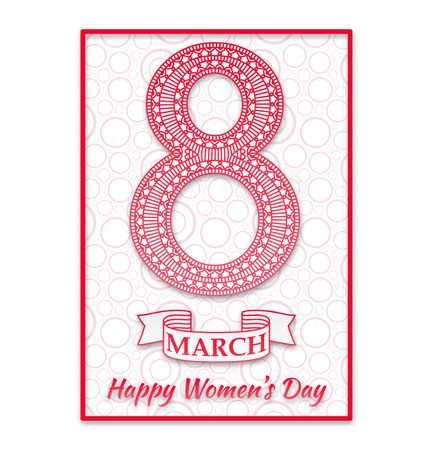 figure of eight: Women Day greeting card. Beautiful crochet pink figure eight, text March 8, Happy Womens Day, ribbon, background with circles. Vector illustration. Illustration