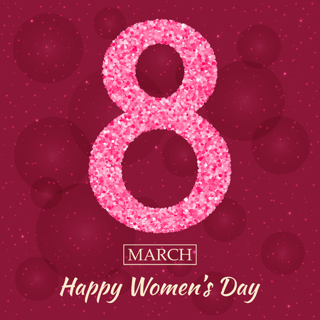 figure of eight: Womens Day greeting card. Beautiful glitter figure eight, text March 8, Happy Women Day, background with bokeh, bubbles, blinks, stars at the back. Vector illustration.