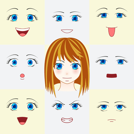 manga style: Set of faces in manga style. Cute anime eyes and mouths. Different human eyes and lips showing various human emotions. Vector illustration.