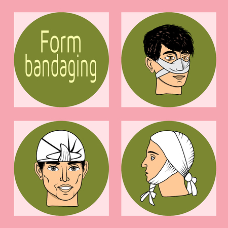 victim: Designation of injury, fracture, contusion. Bandaged body. First aid. The first aid to the victim. The medical indication. Bandage. Bandage. Vector illustration