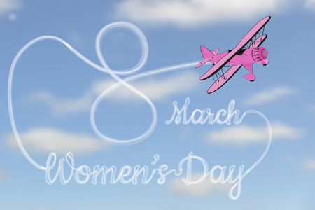 8 march: International Womens Day on March 8. The aircraft in the sky wrote the inscription, vector illustration. Illustration
