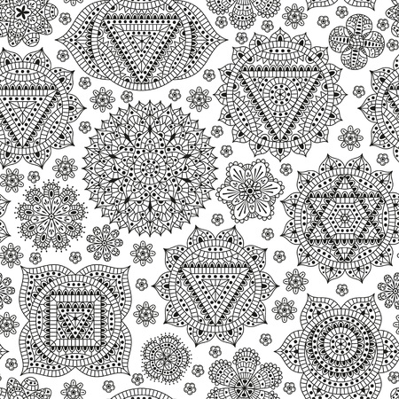 sahasrara: Seamless pattern with seven chakras. Oriental ornaments for henna tattoo and for your design. Buddhism decorative elements. Vector illustration. Illustration