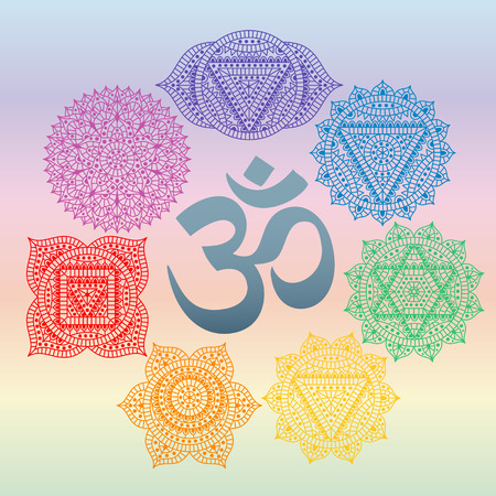 om symbol: Set of seven chakras and symbol OM in the centre. Oriental ornaments for henna tattoo and for your design